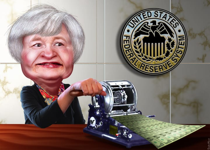 [Cartoon: Janet Yellen printing money]