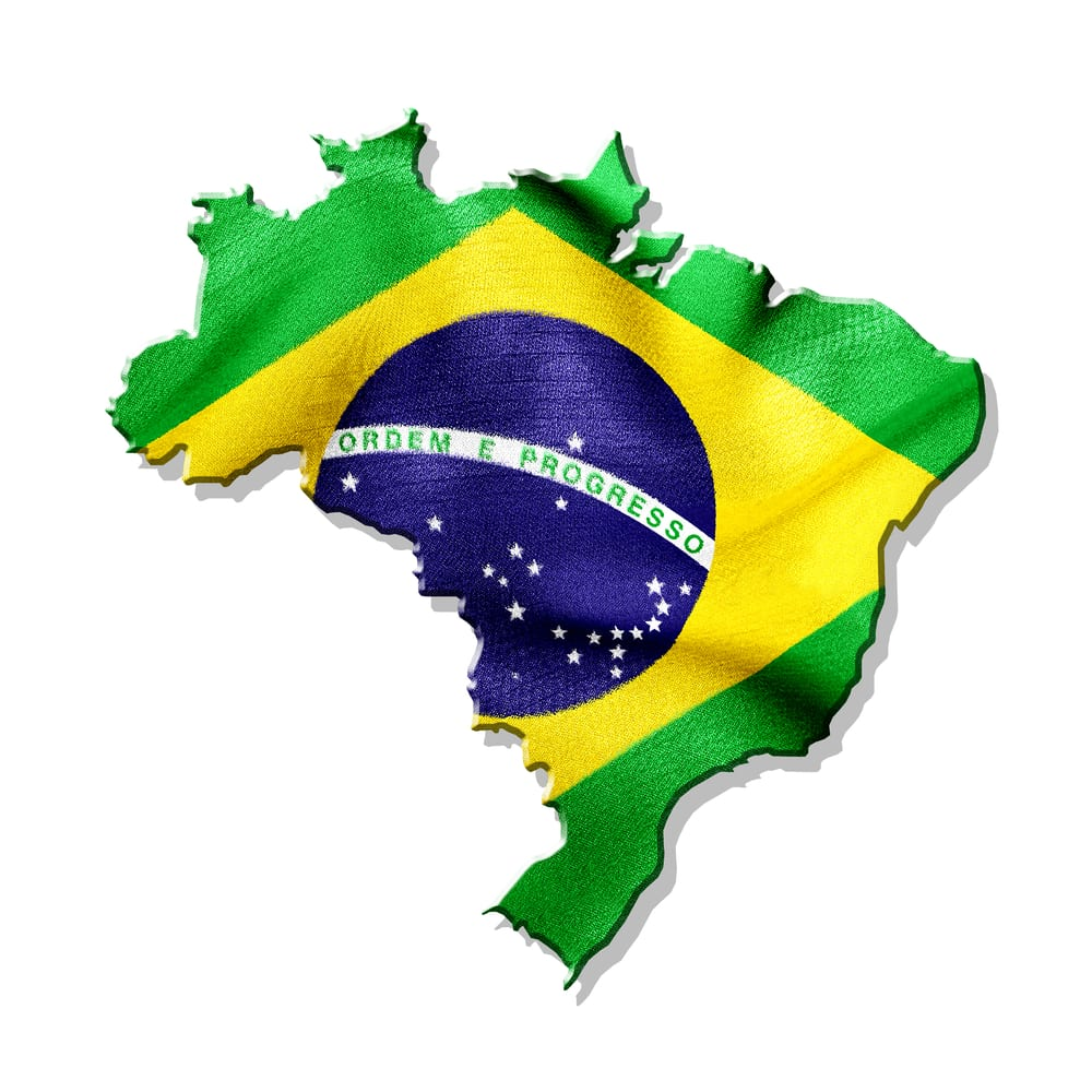 Brazilian flag in shape of Brazil
